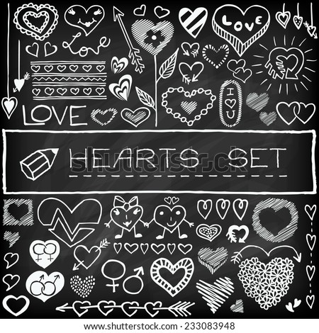 Doodle set of hearts and arrows with chalkboard effect. Design elements for weeding invitations, Valentine's Day cards etc.  - stock vector