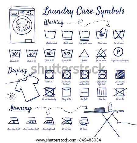 Doodle Set Of Laundry Care Symbols