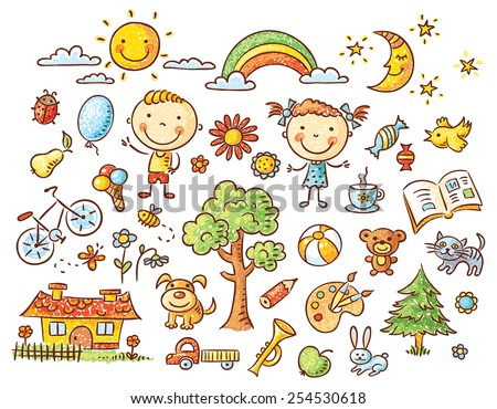 Doodle set of objects from a child's life - pets, toys, nature elements, food, etc - stock vector