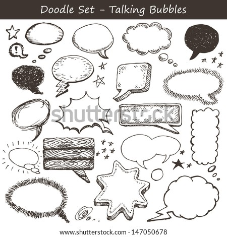 Doodle set of talking clouds - stock vector