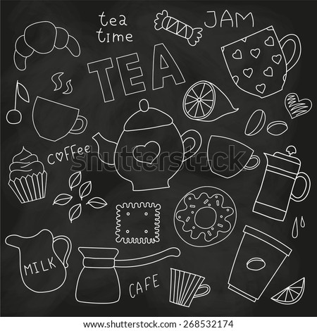 Doodle set of tea and coffee cups, and sweets and things for tea party on the blackboard - stock vector