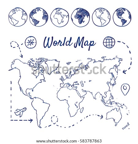 Doodle Set World Map Globes Airplane Stock Vector (Royalty Free ...