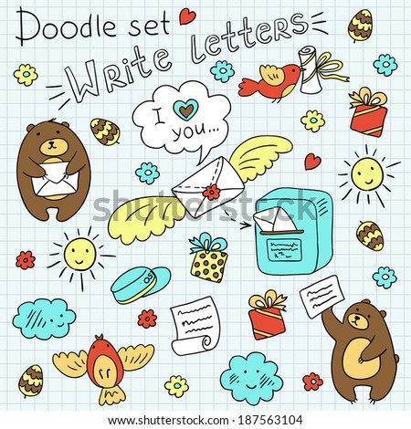 Doodle set -post, letters and bears (vector)