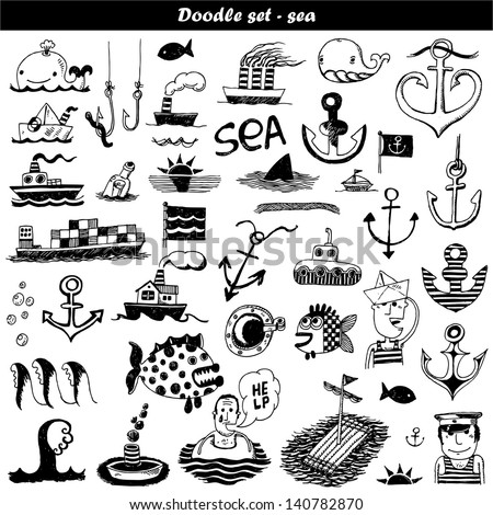 Doodle set - sea - stock vector