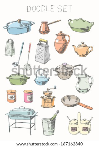 Doodle set - tableware - stock vector