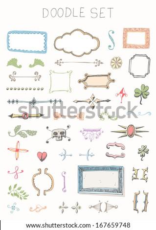 Doodle set - vintage elements - stock vector