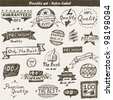 Doodle set: vintage label - stock vector