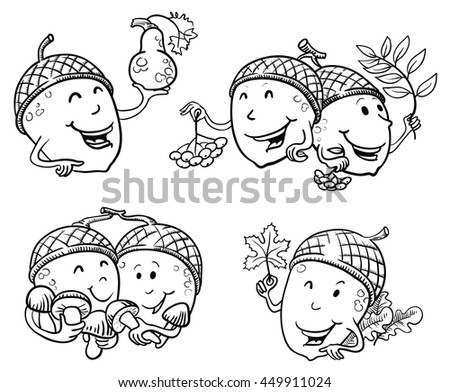 Doodle set with acorn characters with rowan berries, mushrooms, maple leaf and pumpkin. Fall season illustration - stock vector