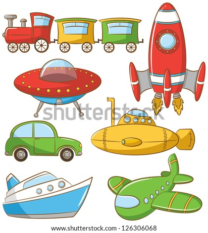 Doodle set with ground, water and air vehicle - stock vector