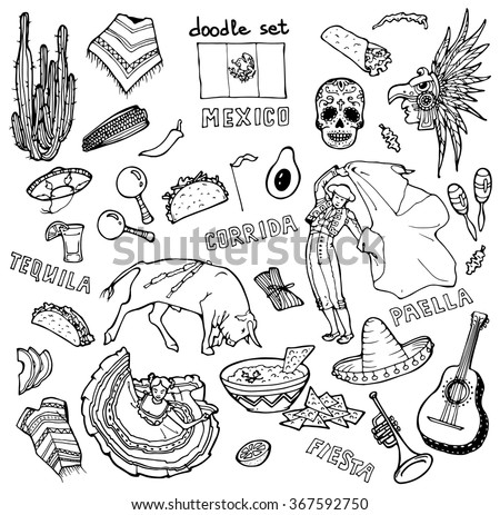 doodle set with mexican stuff
