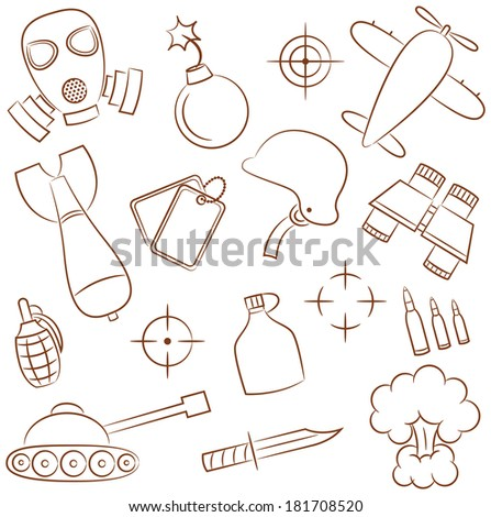 Doodle set with military icons - stock vector