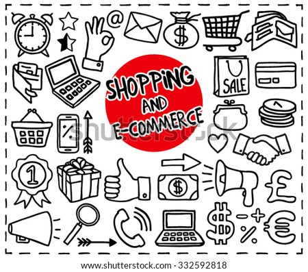 Doodle Shopping and E-commerce icons set. Handdrawn icons shopping cart, currency, sale bag, money, first place award, present, credit card, thumb up, badge, coins and more. Doodle vector illustration