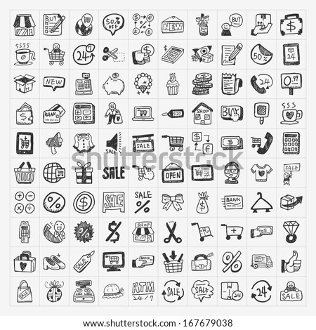 doodle shopping icons set - stock vector