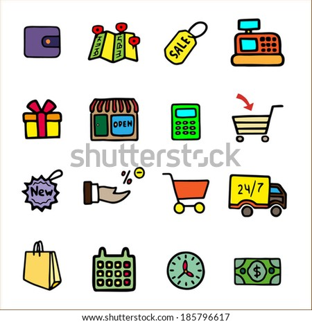 Doodle shopping icons set, colorful hand drawn cartoon collection, vector illustration, isolated on white