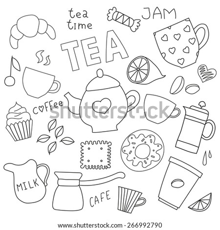 Doodle simple set for tea and coffee and sweets - stock vector