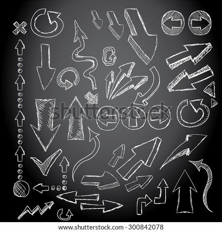 Doodle sketch arrows set for creative design - stock vector