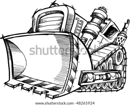 Doodle Sketch Bulldozer Vector Illustration