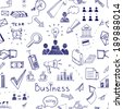 Doodle sketch business icon seamless pattern with financial  teamwork  management  graphs and charts  handshake  brainstorming  documents and mail icons scattered randomly on white - stock vector