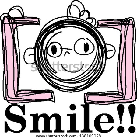 doodle sketch camera with happy face - stock vector