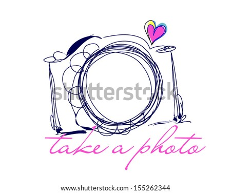 doodle sketch camera with little love heart - stock vector
