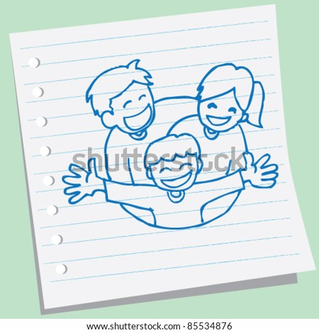 doodle sketch happy family illustration