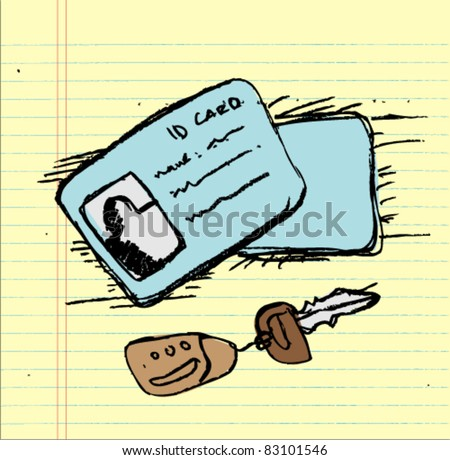 doodle sketch id-card and car keys - stock vector