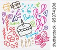 doodle sketch illustration of birthday background - stock vector
