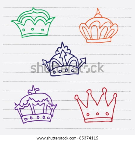 doodle sketch illustration of crown - stock vector