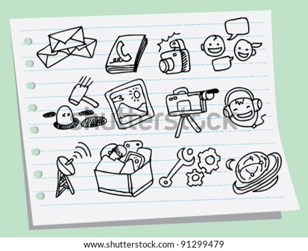 doodle sketch illustration of Mobile phone icons - stock vector