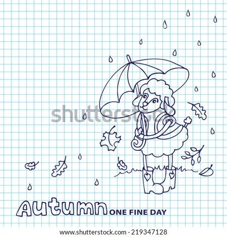 Doodle Sketch in the style of children's hand drawing . Cute sheep girl l with umbrella standing in the rain on the street.Sketchy notepaper. Space for text. Autumn Funny animals vector illustration - stock vector