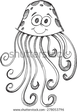 doodle sketch jelly fish vector illustration art