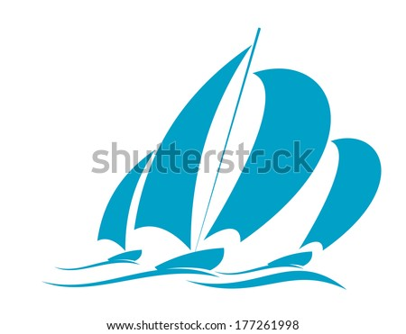 Doodle sketch logo of ocean yachting in a yacht with several sails racing over the surface of the water in blue on white - stock vector