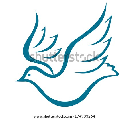 Doodle sketch of a graceful flying dove of peace or bird logo in flight with outspread wings on white