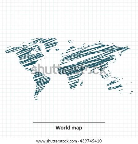 Doodle sketch of World map - vector - stock vector