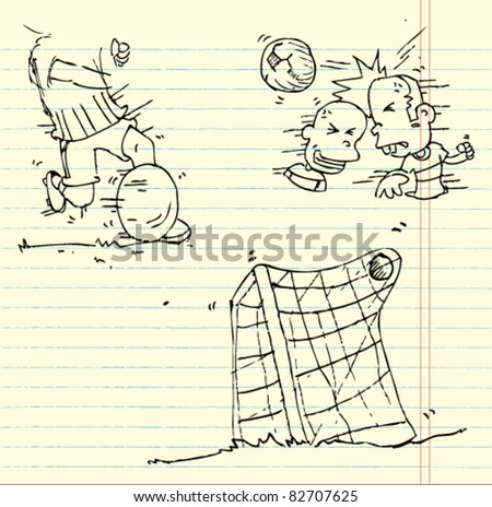 doodle sketch playing football - stock vector