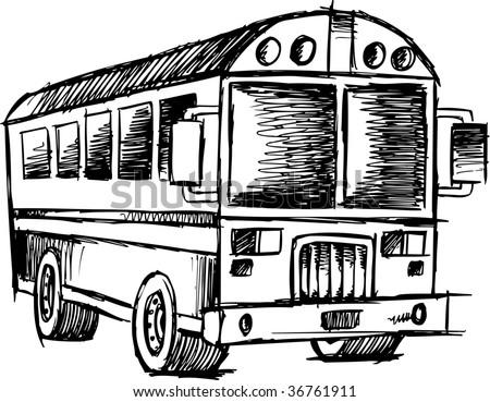 Doodle Sketch School bus Vector - stock vector