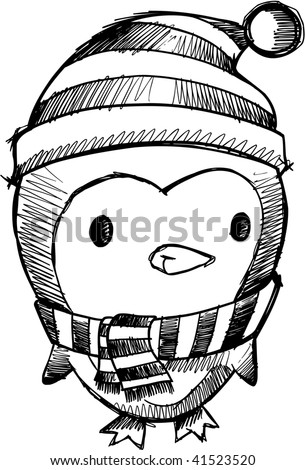 Doodle Sketchy Christmas Penguin Vector - stock vector