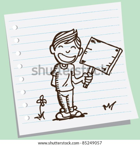 doodle sketchy illustration of a boy holding board - stock vector