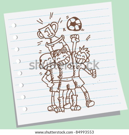 doodle Sketchy illustration of a happy cup winner - stock vector