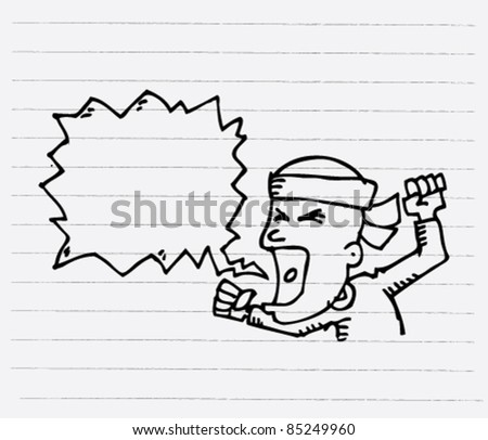 doodle sketchy illustration of a man shouting