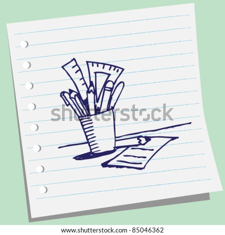 doodle sketchy illustration of a pencils in glass - stock vector