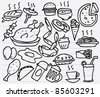doodle sketchy illustration of food - stock vector