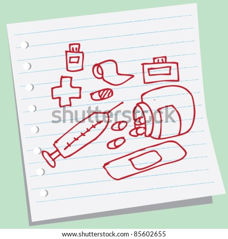 doodle sketchy illustration of  medical - stock vector