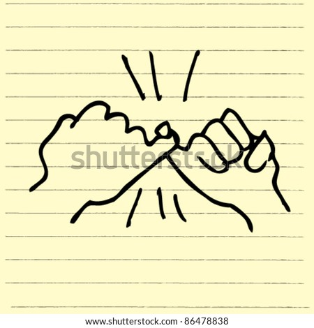 doodle sketchy illustration of pinkie hand - stock vector
