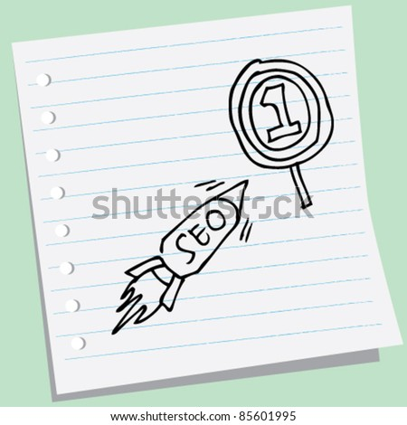 doodle sketchy illustration of seo - stock vector