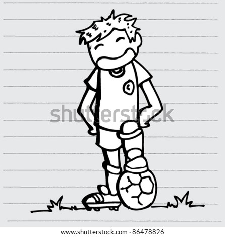 doodle sketchy illustration of soccer player - stock vector
