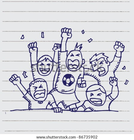 doodle sketchy illustration of supporter football