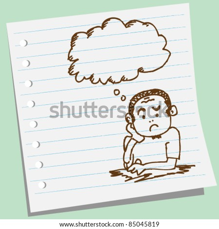 doodle sketchy man thinking illustrations - stock vector