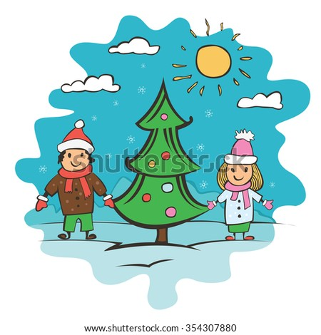 doodle small child drawing card with children and christmas tree vector illustration - Drawing For Small Children