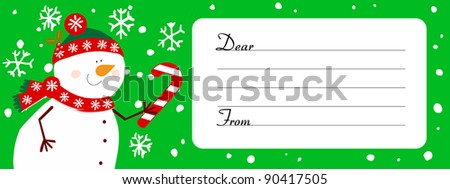 Doodle snowman greeting or invitation - stock vector